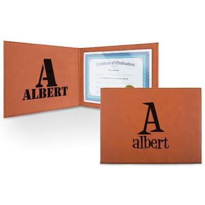 Name & Initial Leatherette Certificate Holder (Personalized)