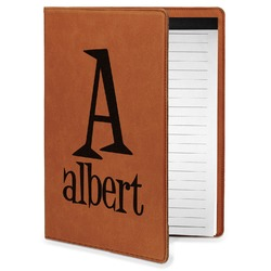 Name & Initial Leatherette Portfolio with Notepad - Small - Single Sided (Personalized)