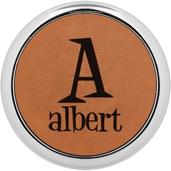 Name & Initial Leatherette Round Coaster w/ Silver Edge - Single or Set (Personalized)