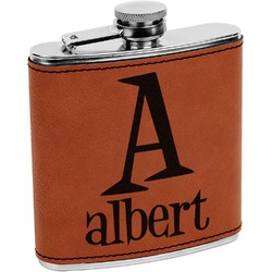 Name & Initial Leatherette Wrapped Stainless Steel Flask (Personalized)