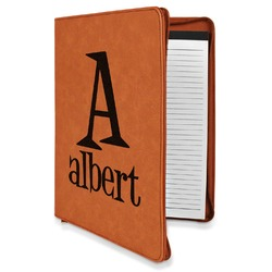 Name & Initial Leatherette Zipper Portfolio with Notepad (Personalized)