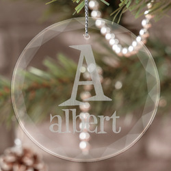 Name & Initial Engraved Glass Ornament (Personalized)