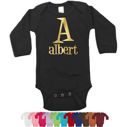 Name & Initial Foil Bodysuit - Long Sleeves - Gold, Silver or Rose Gold (Personalized)