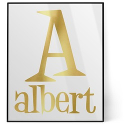 Name & Initial 8x10 Foil Wall Art - White (Personalized)