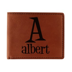 Name & Initial Leatherette Bifold Wallet (Personalized)