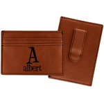 Name & Initial Leatherette Wallet with Money Clip (Personalized)