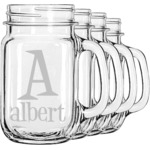 Name & Initial Mason Jar Mugs (Set of 4) (Personalized)