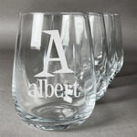 Name & Initial Stemless Wine Glasses (Set of 4) (Personalized)