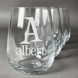 Name & Initial Wine Glasses (Stemless- Set of 4) (Personalized)