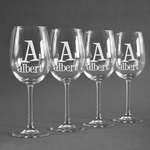 Name & Initial Wine Glasses (Set of 4) (Personalized)