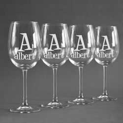 Name & Initial Wineglasses (Set of 4) (Personalized)