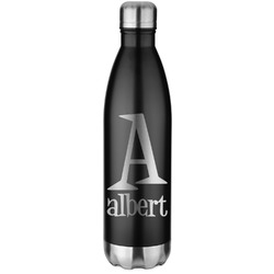 Name & Initial Black Water Bottle - 26 oz. Stainless Steel  (Personalized)