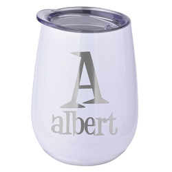 Name & Initial Stemless Wine Tumbler - 5 Color Choices - Stainless Steel  (Personalized)