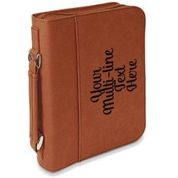 Multiline Text Leatherette Bible Cover with Handle & Zipper - Large- Single Sided (Personalized)