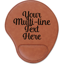 Multiline Text Leatherette Mouse Pad with Wrist Support (Personalized)
