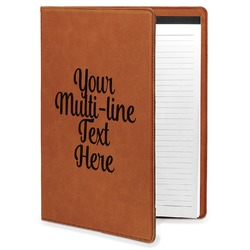 Multiline Text Leatherette Portfolio with Notepad (Personalized)