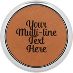 Multiline Text Leatherette Round Coaster w/ Silver Edge - Single or Set (Personalized)