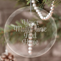 Multiline Text Engraved Glass Ornament (Personalized)