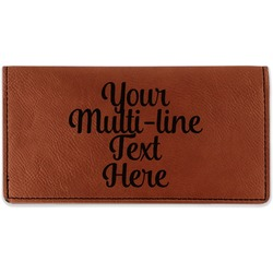 Multiline Text Leatherette Checkbook Holder (Personalized)