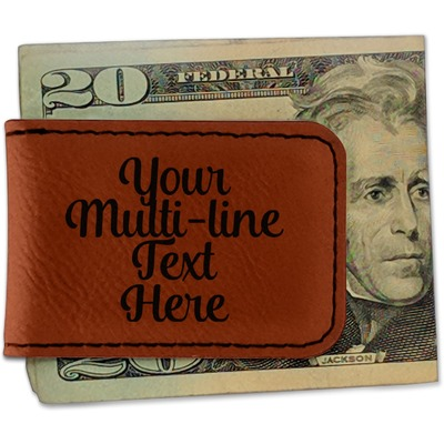 Multiline Text Leatherette Magnetic Money Clip (Personalized)