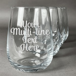 Multiline Text Stemless Wine Glasses (Set of 4) (Personalized)
