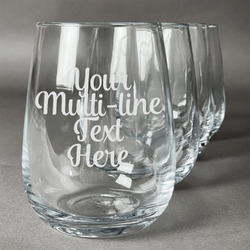 Multiline Text Wine Glasses (Stemless- Set of 4) (Personalized)
