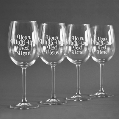 Multiline Text Wine Glasses (Set of 4) (Personalized)