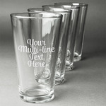 Multiline Text Beer Glasses (Set of 4) (Personalized)