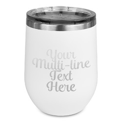 Multiline Text Stemless Wine Tumbler - 5 Color Choices - Stainless Steel  (Personalized)