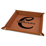 """Name & Initial (Girly) 9"""" x 9"""" Leather Valet Tray w/ Name and Initial"""