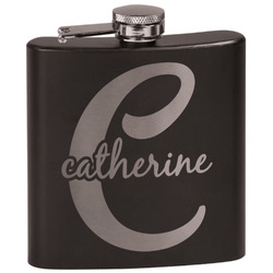 Name & Initial (Girly) Black Flask (Personalized)