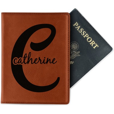 Name & Initial (Girly) Passport Holder - Faux Leather (Personalized)