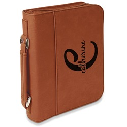 Name & Initial (Girly) Leatherette Book / Bible Cover with Handle & Zipper (Personalized)