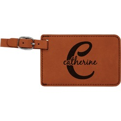 Name & Initial (Girly) Leatherette Luggage Tag (Personalized)