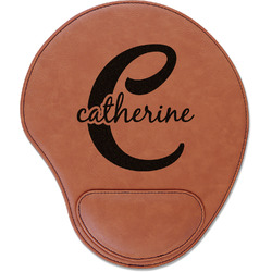 Name & Initial (Girly) Leatherette Mouse Pad with Wrist Support (Personalized)