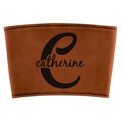 Name & Initial (Girly) Leatherette Mug Sleeve (Personalized)
