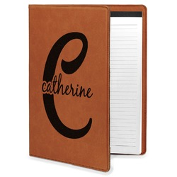 Name & Initial (Girly) Leatherette Portfolio with Notepad (Personalized)