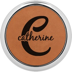 Name & Initial (Girly) Leatherette Round Coaster w/ Silver Edge - Single or Set (Personalized)