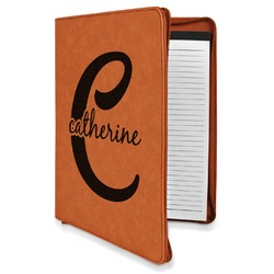 Name & Initial (Girly) Leatherette Zipper Portfolio with Notepad (Personalized)