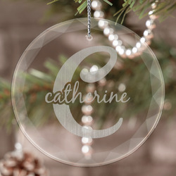 Name & Initial (Girly) Engraved Glass Ornament (Personalized)