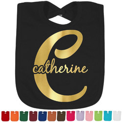 Name & Initial (Girly) Foil Baby Bibs (Select Foil Color) (Personalized)