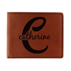Name & Initial (Girly) Leatherette Bifold Wallet (Personalized)