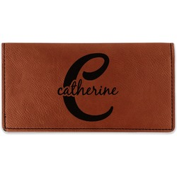 Name & Initial (Girly) Leatherette Checkbook Holder (Personalized)