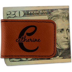 Name & Initial (Girly) Leatherette Magnetic Money Clip (Personalized)