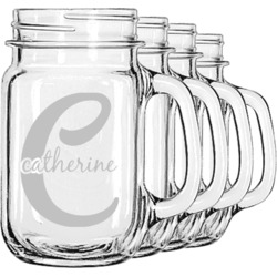 Name & Initial (Girly) Mason Jar Mugs (Set of 4) (Personalized)