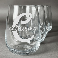 Name & Initial (Girly) Wine Glasses (Stemless- Set of 4) (Personalized)