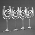 Name & Initial (Girly) Wineglasses (Set of 4) (Personalized)