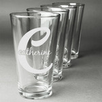 Name & Initial (Girly) Beer Glasses (Set of 4) (Personalized)