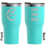 Name & Initial (Girly) RTIC Tumbler - Teal - Engraved Front & Back (Personalized)