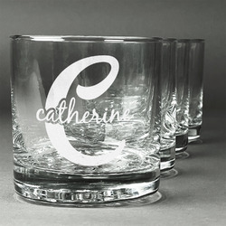 Name & Initial (Girly) Whiskey Glasses (Set of 4) (Personalized)